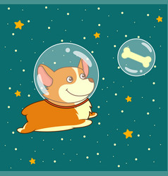 Cute smiling dog dressed in spacesuit is flying in vector