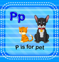 Flashcard letter p is for pet vector