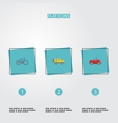 flat icons bicycle jeep transport and other vector image