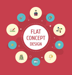 flat icons design bulb show and other vector image vector image