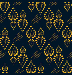 Geometric yellow pattern with ornament leaves vector