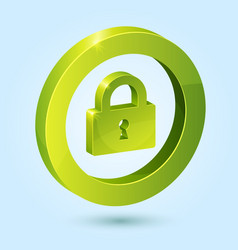 Green lock symbol isolated on blue background vector image vector image