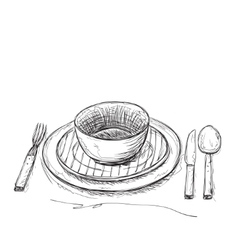 Hand drawn fork knife and plate vector image