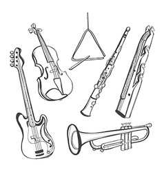 Hand-drawn instruments vector image