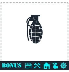 Hand grenade icon flat vector