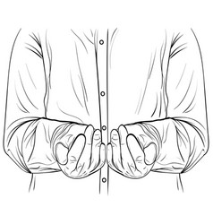 ink sketch men hands hold something vector image vector image