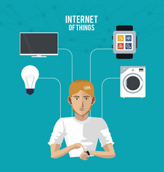 Internet things man wearable technology vector