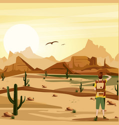 Landscape background desert with traveler cacti vector