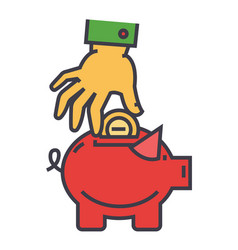 money pig savings happy piggy bank hand put vector image