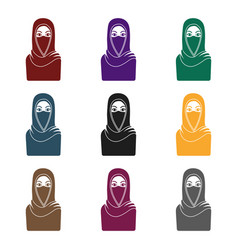 Niqab icon in black style isolated on white vector