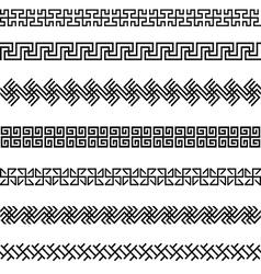 Old greek border designs set vector