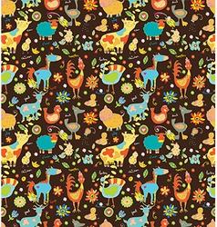 Seamless Funny cartoon farm animals vector image