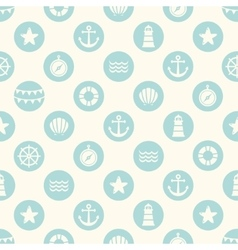 seamless pattern with flat sea elements vector image vector image