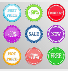 Set of discount labels vector