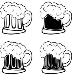 set of glasses of beer vector image vector image