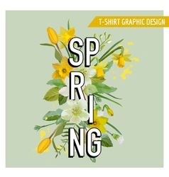 Spring flowers and leaves background design vector