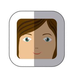 sticker cartoon human female happy face vector image