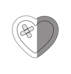 sticker of monochrome silhouette of heart with vector image