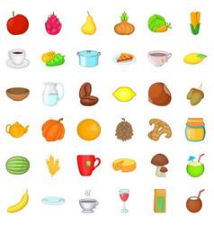 Vegetarian dish icons set cartoon style vector