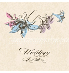 Wedding invitation lily flower decoration vector image vector image