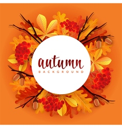 Autumn border with oak and chestnut leaves vector
