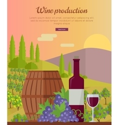 Wine Production Banner Poster for Red Vine vector image