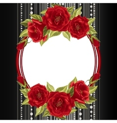 Delicate frame with roses vector