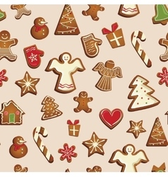 Seamless pattern with gingerbread cookies vector