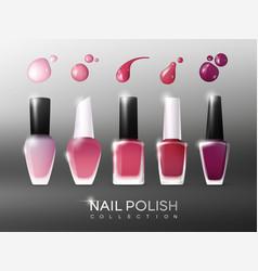 Realistic nail polish collection vector