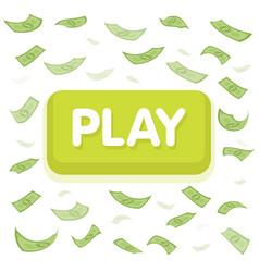 Play game concept dollar money rain hundred vector