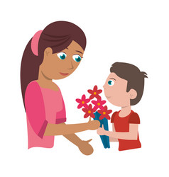 child gift bouquet flowers mother vector image