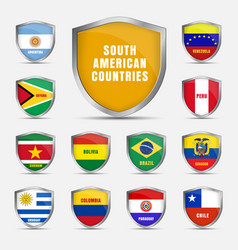 Set shields with flags of the south american vector