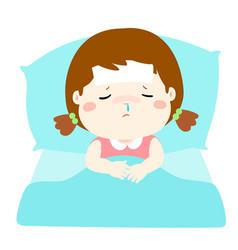 little sick girl in bed cartoon vector image