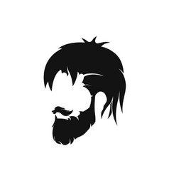 Mens hairstyle with a beard and mustache vector