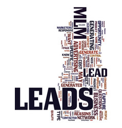 Mlm lead text background word cloud concept vector
