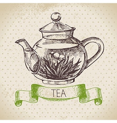 Tea vintage background hand drawn sketch menu des vector