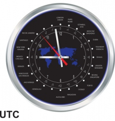 silver clock with time zones vector image