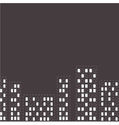 Silhouette of the night city dash line flat design vector