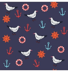 Seamless pattern with marine objects vector