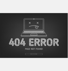 404 error not found page in blak board vector image vector image