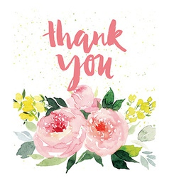 Greeting card flowers watercolor vector