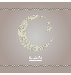 Crescent moon decorated with zentangle for muslim vector
