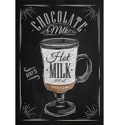 Poster chocolate milk chalk vector