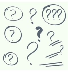 Set of handwritten question marks vector