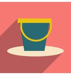 Flat with shadow icon and mobile application pail vector