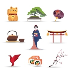 Set of japan isolated travel colorful flat icons vector