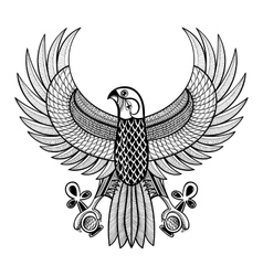 Hand drawn artistically egypt horus falcon vector