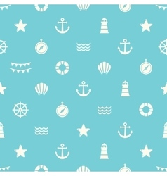 Simple seamless pattern with flat sea elements vector