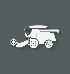 Combine harvester farm machinery vector