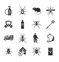 Pest control black white icons set vector